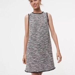 ❤️ANN TAYLOR LOFT TALL FRINGE TWEED SHIFT DRESS/ S